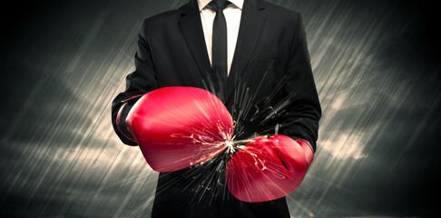 Boxing gloves clashing