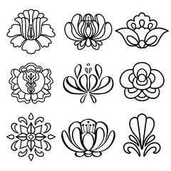 Set hand drawn black lines flowers isolated on a white background