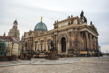 old architecture of the medieval city of Dresden, Saxony, Germany