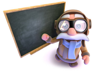 3d Funny cartoon airline pilot character standing at a blackboard