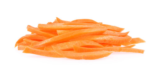 Carrot, Pile of Carrot sticks, Julienne style isolated on white background.