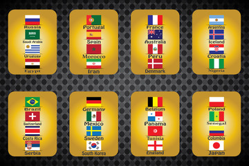 Soccer World Cup. graphic drawing flags, 32 participants.