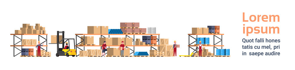 Warehouse Interior Box On Rack And People Working. Logistic Delivery Service Concept Template Background With Copy Space Flat Vector Illustration