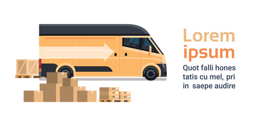 Boxes Parcels Stuck Over Delivery Truck Template Background, Goods Shipping Transportation Service Concept Flat Vector Illustration