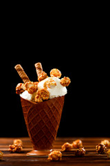 Ice cream with caramel and popcorn