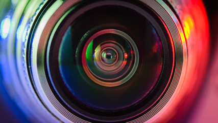 Camera lens and multi-colored backlight blue and red