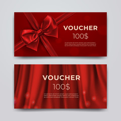 Gift voucher design template. Set of premium promotional card with realistic red bow, ribbon and silk isolated on bokeh background. Discount certificates, coupon or leaflet. Vector 3d illustration.