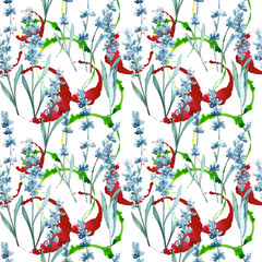 Wildflower lavender flower pattern in a watercolor style. Full name of the plant: lavender. Aquarelle wild flower for background, texture, wrapper pattern, frame or border.