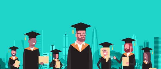 Group Of Mix Race Students In Graduation Cap And Gown Hold Diploma Over Modern City Buildings Background Flat Vector Illustration