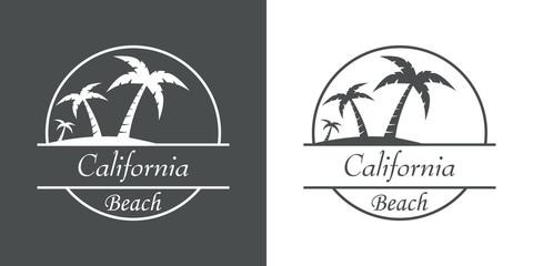 Icono plano California beach en gris y blanco