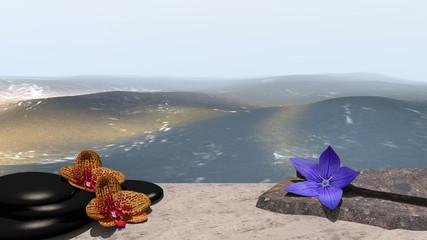 Orchideen, Bimssteine, Blüte und Bruchsteine auf Sandstrand vor der Weite des Meeres. 3d render