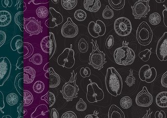 Seamless pattern with hand drawn fruits. White outline on dark colors backgrounds. Peach, kiwi, figs, papaya