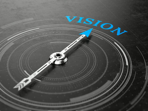 Business vision concept - Compass needle pointing Vision word. 3d rendering