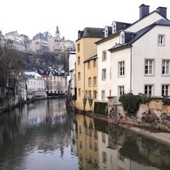 Luxembourg grund winter snowy view
