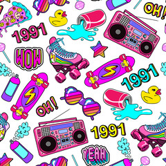 Seamless pattern with colorful elements from the nineties. Background with patches, badges, pins, stickers in 90s comic style.