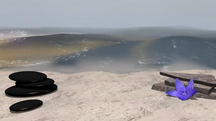 lila Blüte, Bimssteine und Bruchsteine auf Sandstrand vor der Weite des Meeres. 3d render
