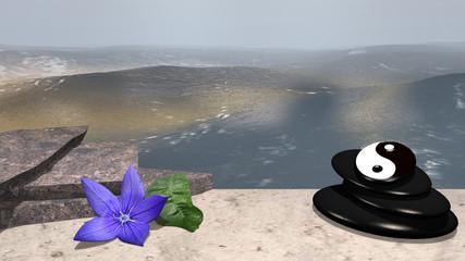 lila Blüte mit Orangenblatt, Bruchsteine und Bimssteine mit Yin-Yang Symbol auf Sandstrand vor der Weite des Meeres. 3d render