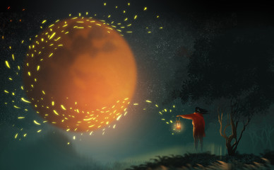 Digital illustration art painting style a long hair beautiful woman holding lamp and standing on the hill, the big red moon and strong wind to the lamp have many fire dust in midnight sky.