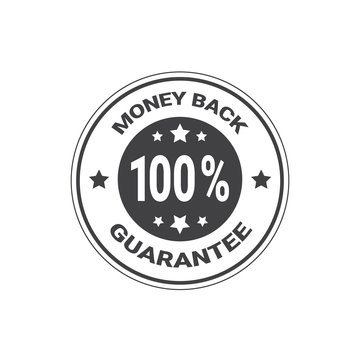 Money Back Guarantee With 100 Percents Stamp Or Sticker Isolated Vector Illustration