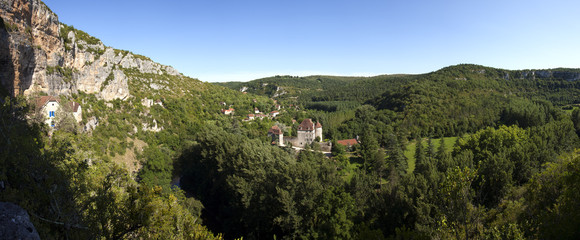 Picturesque rural valley and a small chateau at Sauliac Sur Cele, Lot, France