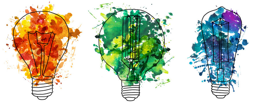 2d hand drawn illustration of three edison's bulb. Colorful splash watercolor isolated on lightbulb shape. Ink sketch, doodle on white background. Idea and solution concept.