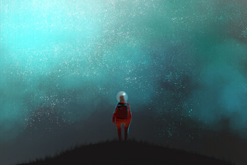 an astronaut standing on the top of mountain and looking to night sky, many stars in the fog, digital art illustration painting.