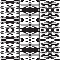 Navajo patterns. Set of 3 seamless swatches. American Indian style. Vector retro design for fashion prints. Monochrome backgrounds.