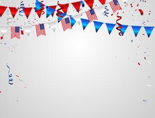 Red White blue confetti concept design Memorial Day greeting background. Celebration Vector illustration.