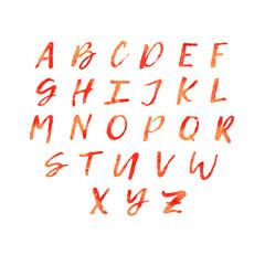 Watercolor lettering alphabet