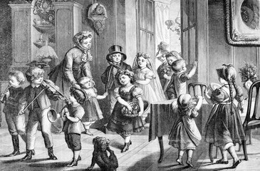 Marriage preparatives: festive and happy children at home, vintage engraving