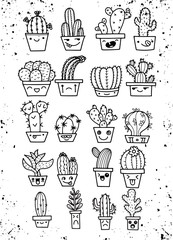Freehand vector drawing ,Cute hand drawn vector cactuse in the funny face pots,Vector illustration