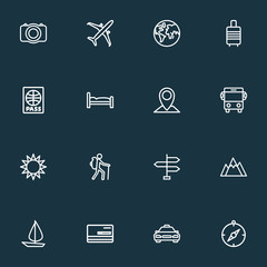 Journey icons line style set with valise, airplane, planet and other sunny 