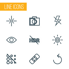 Picture icons line style set with sparkle, lightning, plaster and other flash off  elements. Isolated vector illustration picture icons.