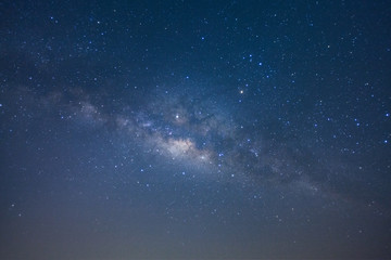 The milky way galaxy with stars and space dust in the universe, Long exposure photograph, with grain