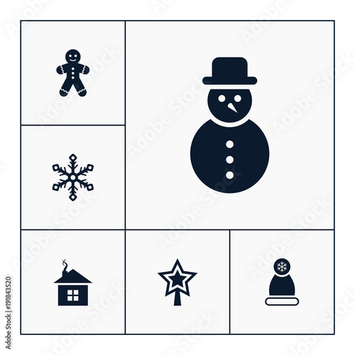 Vector Set Of Winter Icons Simple Christmas Elements Illustration