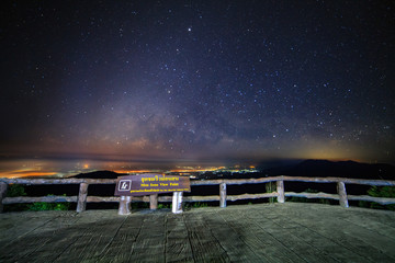 Starry night sky at Monson viewpoint Doi AngKhang and milky way galaxy with stars and space dust in the universe
