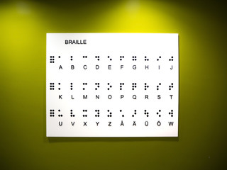 A table showing all the braille alphabet with a yellow illuminated background.