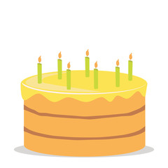 yellow cake with candles