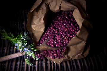 azuki red beans  (light painting technique)