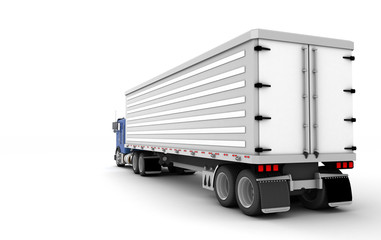 Logistics concept. American Freightliner Cargo truck transporting goods moving from right to left isolated on white background. Rear view. 3D illustration