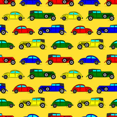 Bright seamless pattern with old fashioned vintage cars