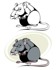Cartoon rat on white