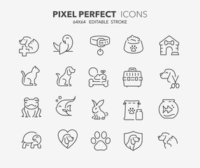 pets and vet thin line icons