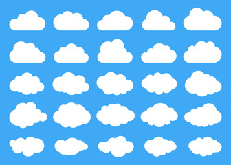 Clouds silhouettes. Vector set of clouds shapes. Collection of various forms and contours. Design elements for the weather forecast, web interface or cloud storage applications Fotoväggar