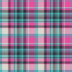 Blue pink check plaid fabric texture seamless pattern