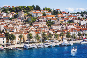 View of the Hvar town, Hvar island, Dalmatia, Croatia. Famous landmark and touristic destination for travel in Europe