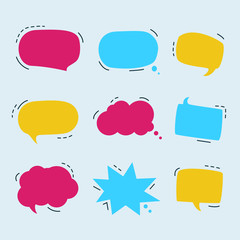 Set of colorful speech bubbles set