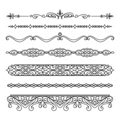 Scroll elements, set of vintage borders and flourishes