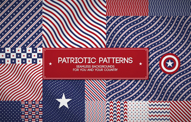 Set of patriotic american patterns with stars and stripes. Useful for Memorial day, Independence day, national and political events. Fotomurales