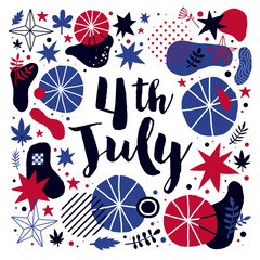 Vector background with abstract patriotic elements for 4 July Independence Day. Useful for banners, advertising and invitations.